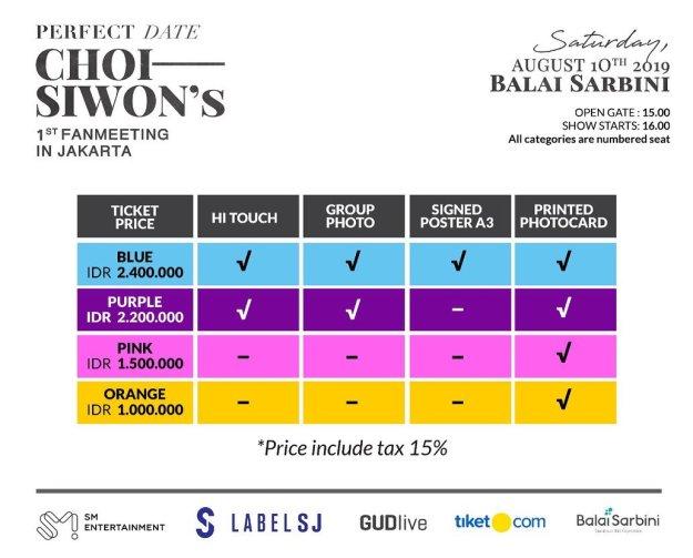 harga tiket Siwon